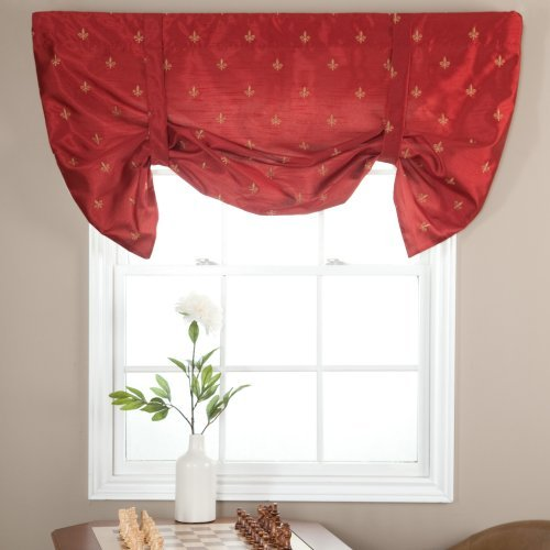 Ellis Curtain Fleur De Lis Lined Tie Up Valance