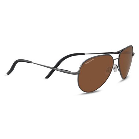 Serengeti 8555 Sunglasses Carrara Small Shiny Gunmetal Polarized Drivers (Serengeti Nuvola)