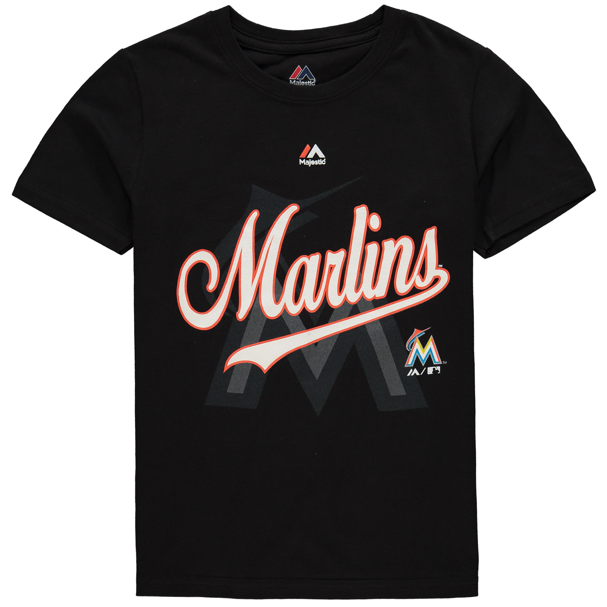Youth Majestic Black Miami Marlins At the Game T-Shirt