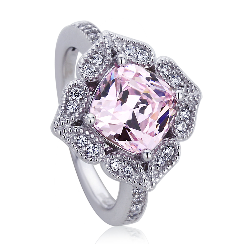 Sterling Silver Platinum Plated Engagement Ring Pink Cubic Zirconia Cushion Cut Flower Ring by