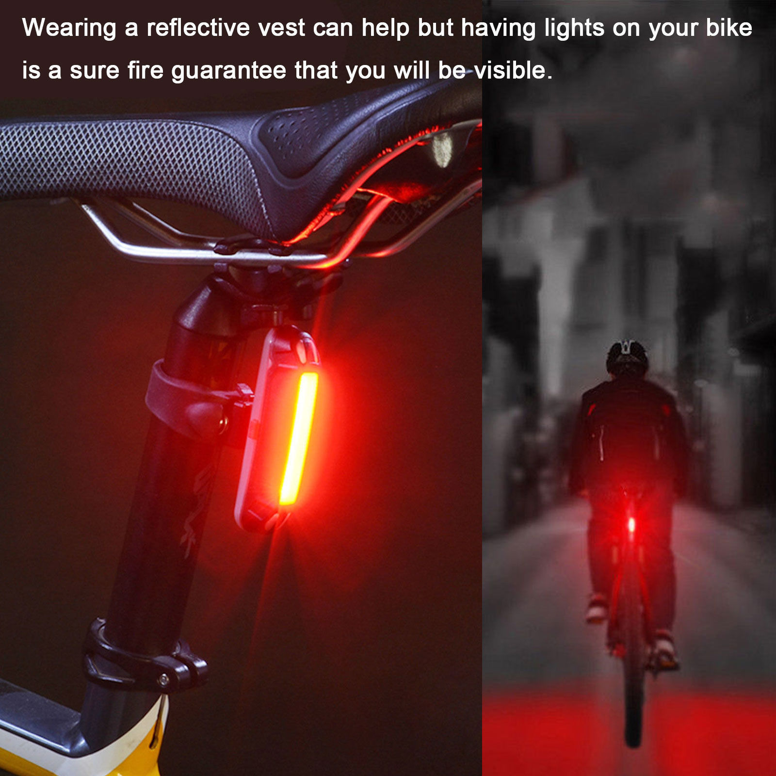 LED Bicycle Front Rear Plastic Light Bike Cycling Warning Safety Lamp in Night b