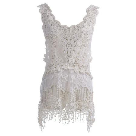 S/M Fit Beige Boho Floral Style Crochet Knit Sheer Lace Fringe Hem Top (Crochet Knit Tank)