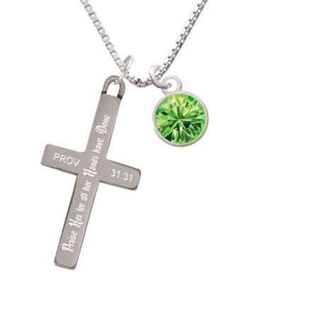 10mm Lime Green Crystal Drop - Praise Her - Cross Necklace