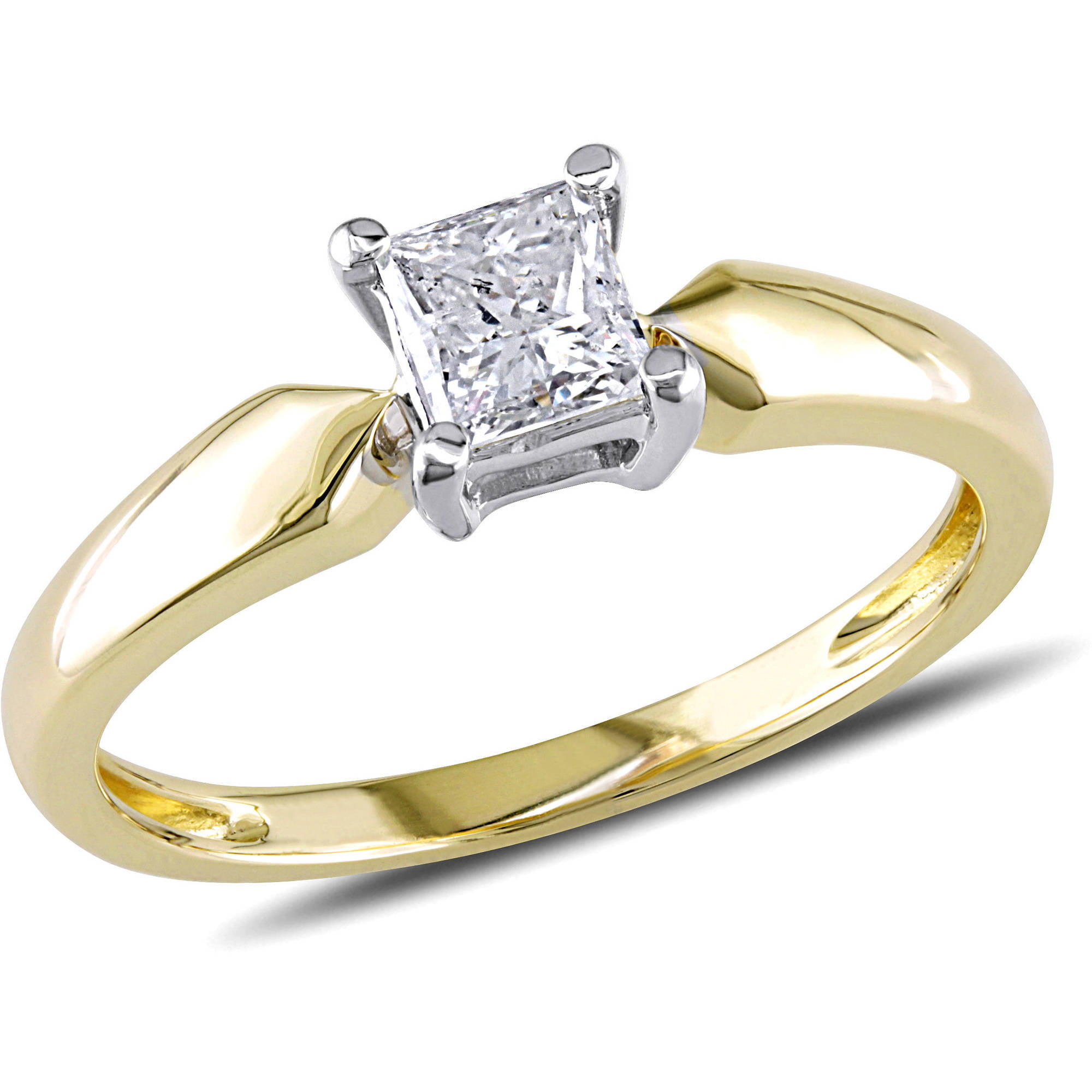 Miabella 1 2 Carat T.W. Princess Cut Diamond Solitaire Ring in 14kt Yellow Gold by