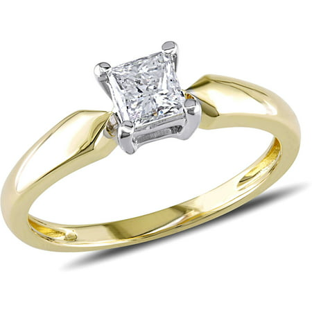 Miabella 1/2 Carat T.W. Princess Cut Diamond Solitaire Ring in 14kt Yellow Gold