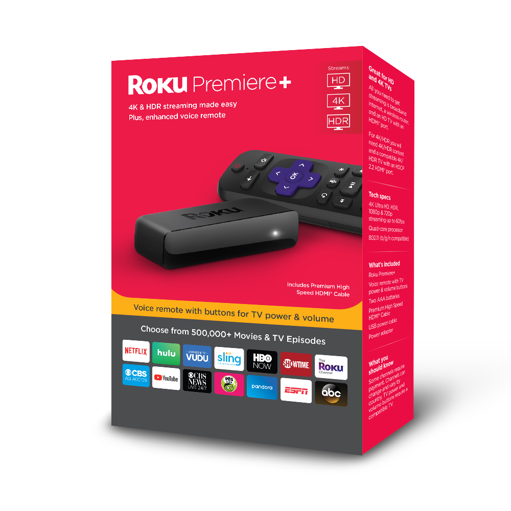 Roku Premiere+ 4K HDR Streaming Player - WITH 3 MONTHS FREE OF CBS ALL ACCESS ($29.97 VALUE)
