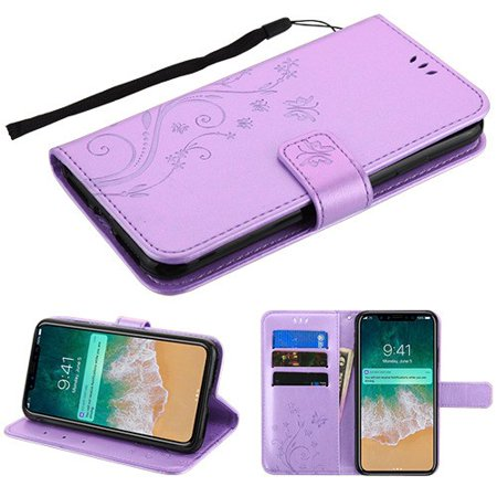 Purple Butterfly Flower - Apple iPhone Xs Max (6.5 Inch) - Phone Case Pattern Flip Wallet Case Cover Stand Pouch Book Magnetic Buckle with Hand Strap 3D Butterfly Flower - Purple Phone Case for Apple iPhone Xs Max
