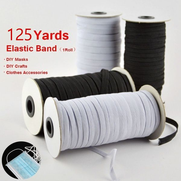 125 Yards Flat Elastic Band 1 4 Wide Rubber Strap Stretch Sewing