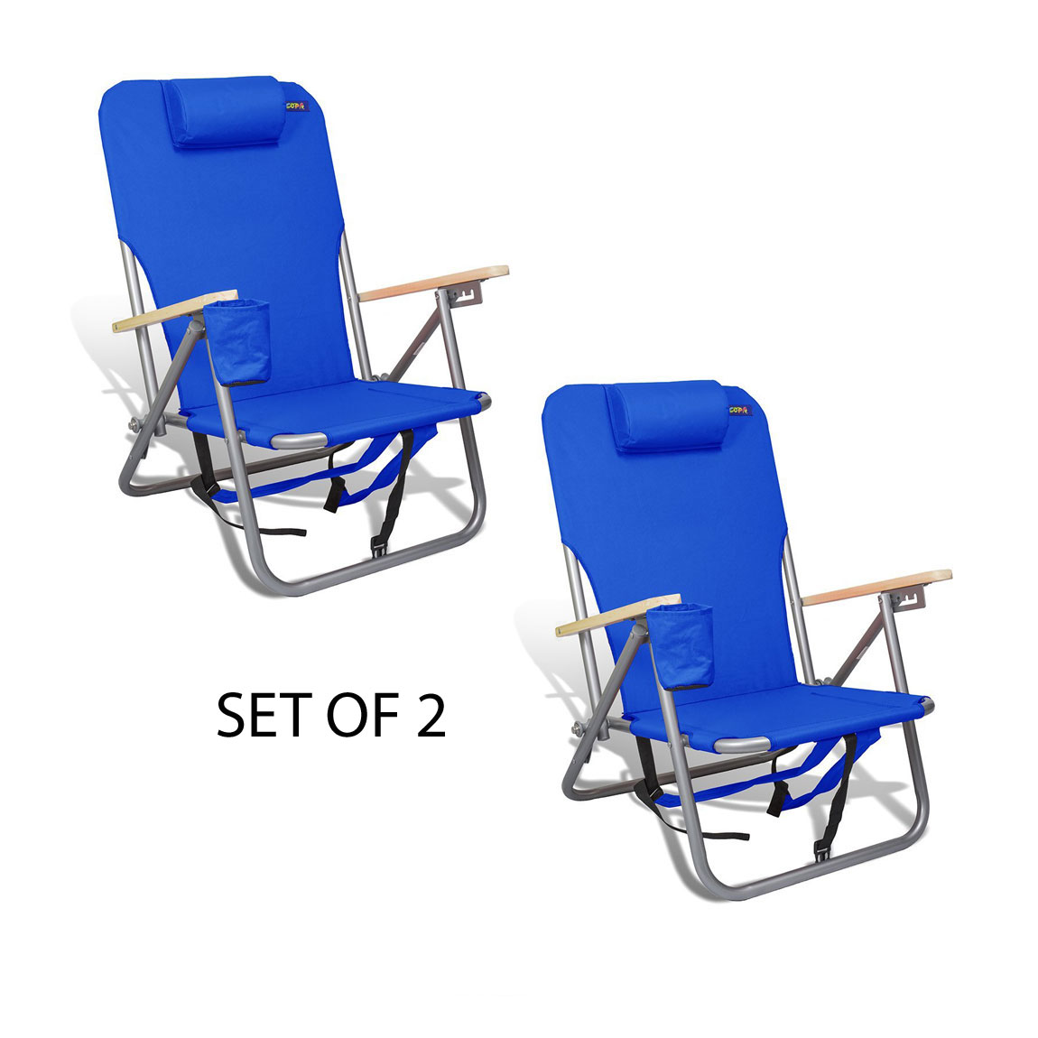 Copa 4 position Steel Backpack Chair w Drink Holder & Storage Pouch - Set of 2