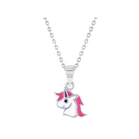 """925 Sterling Silver Pink White Enamel Unicorn Necklace Pendant for Girls 16"""""""