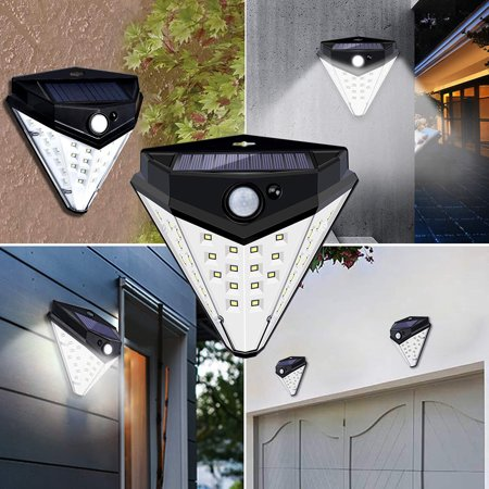 32 LEDs Diamond Shape Solar Lamp PIR Motion Sensor Wall Lights Waterproof IP44 Sensing Mode Mounting Night Secury Lighting for Garden Driveway - image 1 of 7