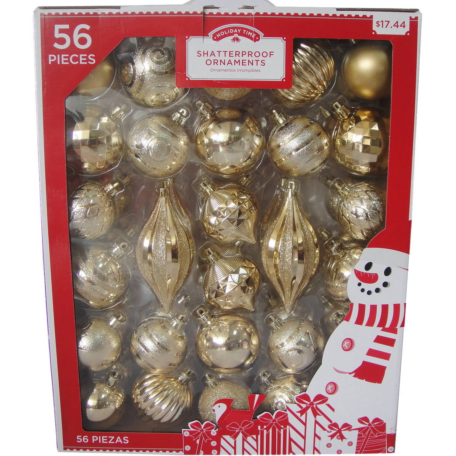 holiday time traditional shatterproof christmas ornaments set of 56 walmartcom