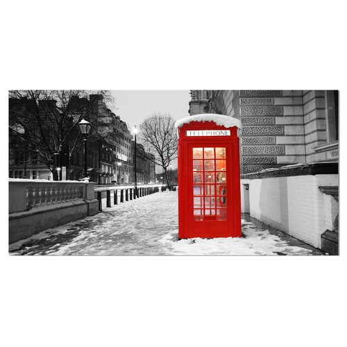 Design Art Red London Telephone Booth Cityscape Photographic Print on Wrapped Canvas
