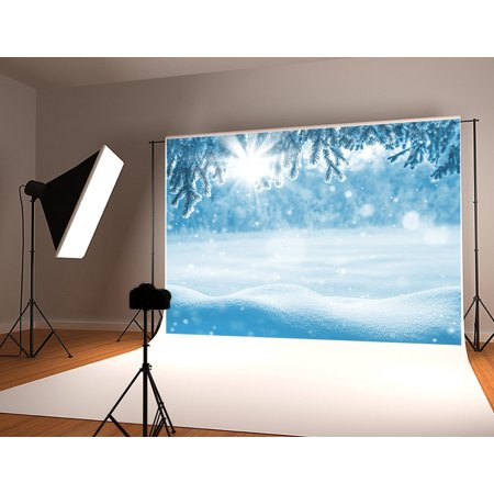 GreenDecor Polyster 7x5ft Snow Backdrop for Photography Snowflake Backdrops Winter Forest Snow World Background Photo Studio Props