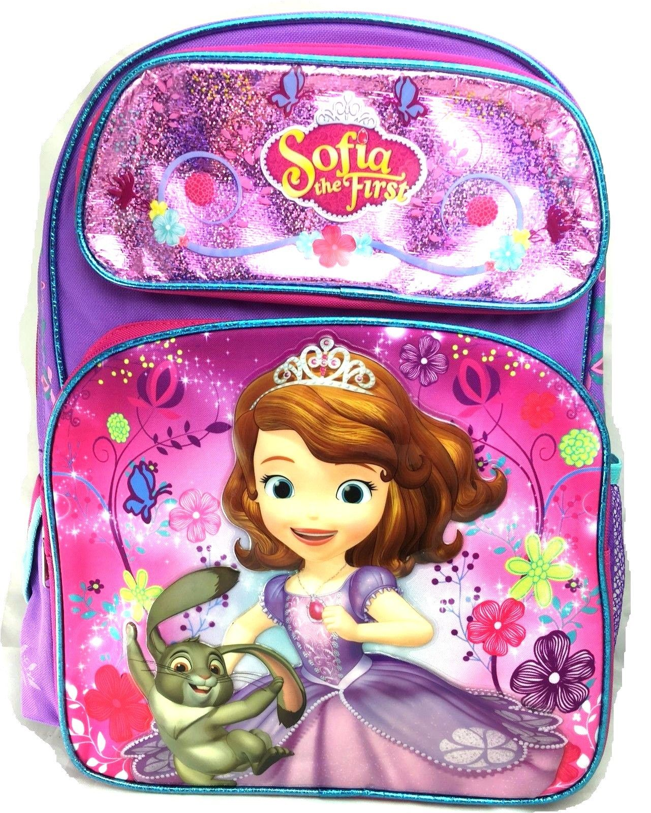 "Disney Sofia the First & Rabbit 16"" Canvas Pink & Purple School Large Backpack"
