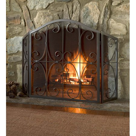 Crest Tri-Fold Fireplace Fire Screen with Steel Frame, Copper ()