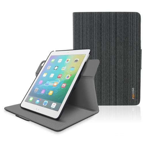 iPad Air Case - roocase Orb Folio 360 Rotating Case with Detachable iPad Air Shell for Apple iPad Air 1 2013 / Air 2 2014 [Support Smart Cover Sleep / Wake Feature], Canvas Black
