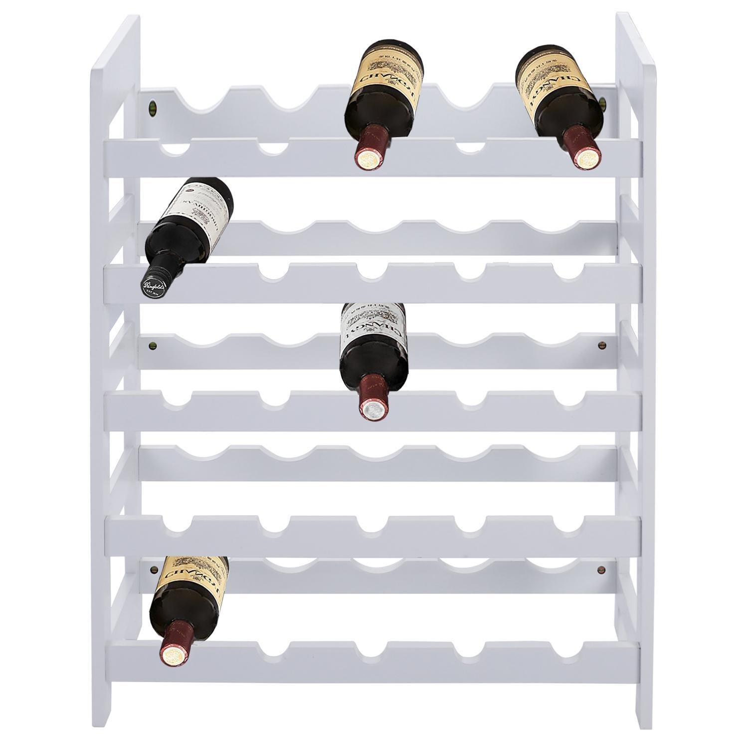 25 Bottle Capacity Stackable Modular Wine Rack Stackable Storage Stand Display Shelves, Solid Wood