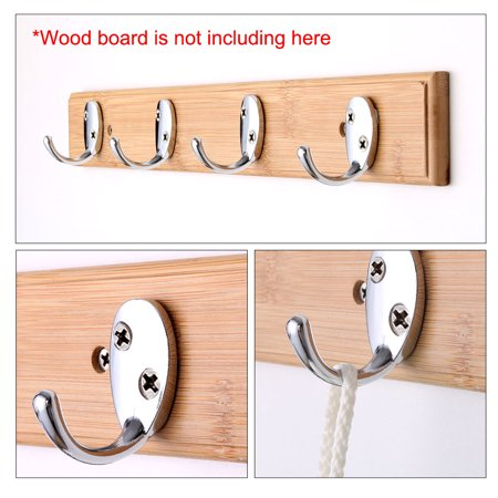 5pcs Wall Hooks Stainless Steel Hook Coat Wall DIY Hanger w Screws Silver Tone - image 1 of 7