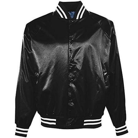 Augusta Sportswear Men's Satin Baseball Jacket/Striped Trim S Black/White