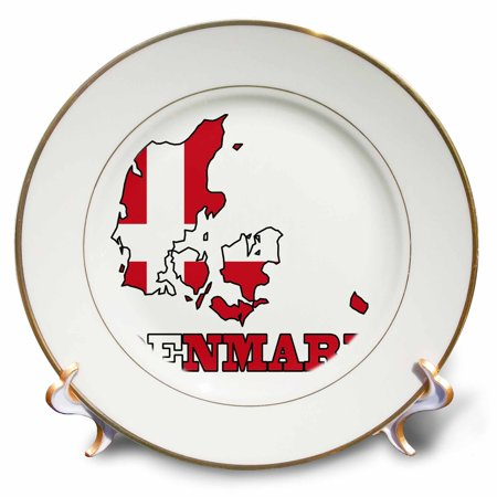 3dRose The flag of Denmark in the outline map of the country and name, Denmark. - Porcelain Plate, 8-inch