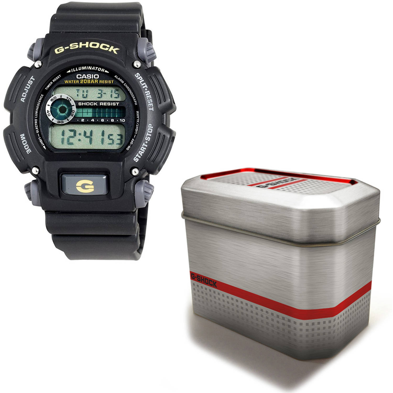 Casio Men's G-Shock Watch with Reusable Gift Tin, Gold Accents with Black Resin Strap