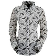 Outback Trading Shirt Womens Long Sleeve Feather Print Snap Up 42007