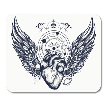 POGLIP Heart and Wings in Space Tattoo Symbol of Love Philosophy Psychology Imagination Mousepad Mouse Pad Mouse Mat 9x10 inch - image 1 of 1