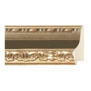 "Picture Frame Moulding (Wood) - Ornate Gold Finish - 3"" width - 1"" rabbet depth"