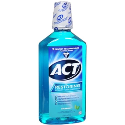 ACT Restoring Anticavity Fluoride Mouthwash Cool Splash Spearmint 33.80 oz (Pack of 2)