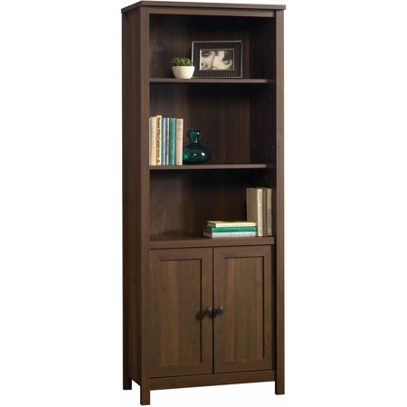Better Homes & Gardens Lafayette Library with Doors, English Walnut Finish