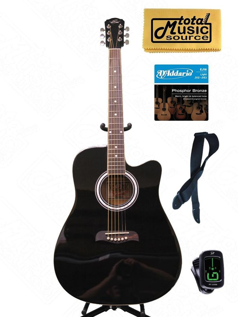 Oscar Schmidt by Washburn Black Acoustic Guitar W  GIG BAG, STRAP, TUNER, PICKS, OD45CBPAK... by Oscar Schmidt