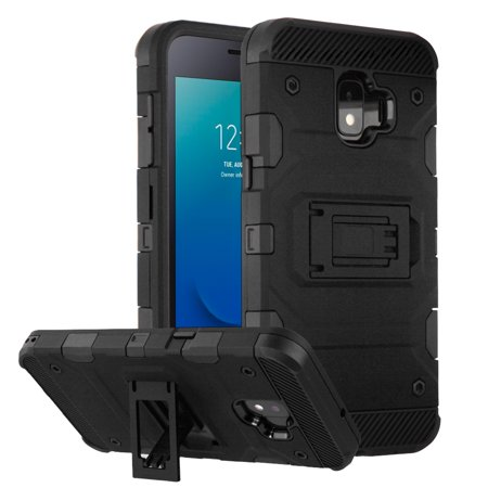 Military Grade Certified Storm Tank Hybrid Armor Case with Stand for Samsung Galaxy J2 / J2 Pure - Black