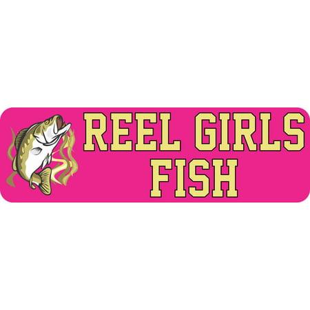 10X3 Reel Girls Fish Bumper Sticker Vinyl Bass Fishing Stickers Car Sports Decal
