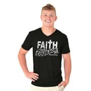 Jesus V-Neck Tees Shirts Tshirt T-Shirt Faith Takes Courage Christ Bible Lord