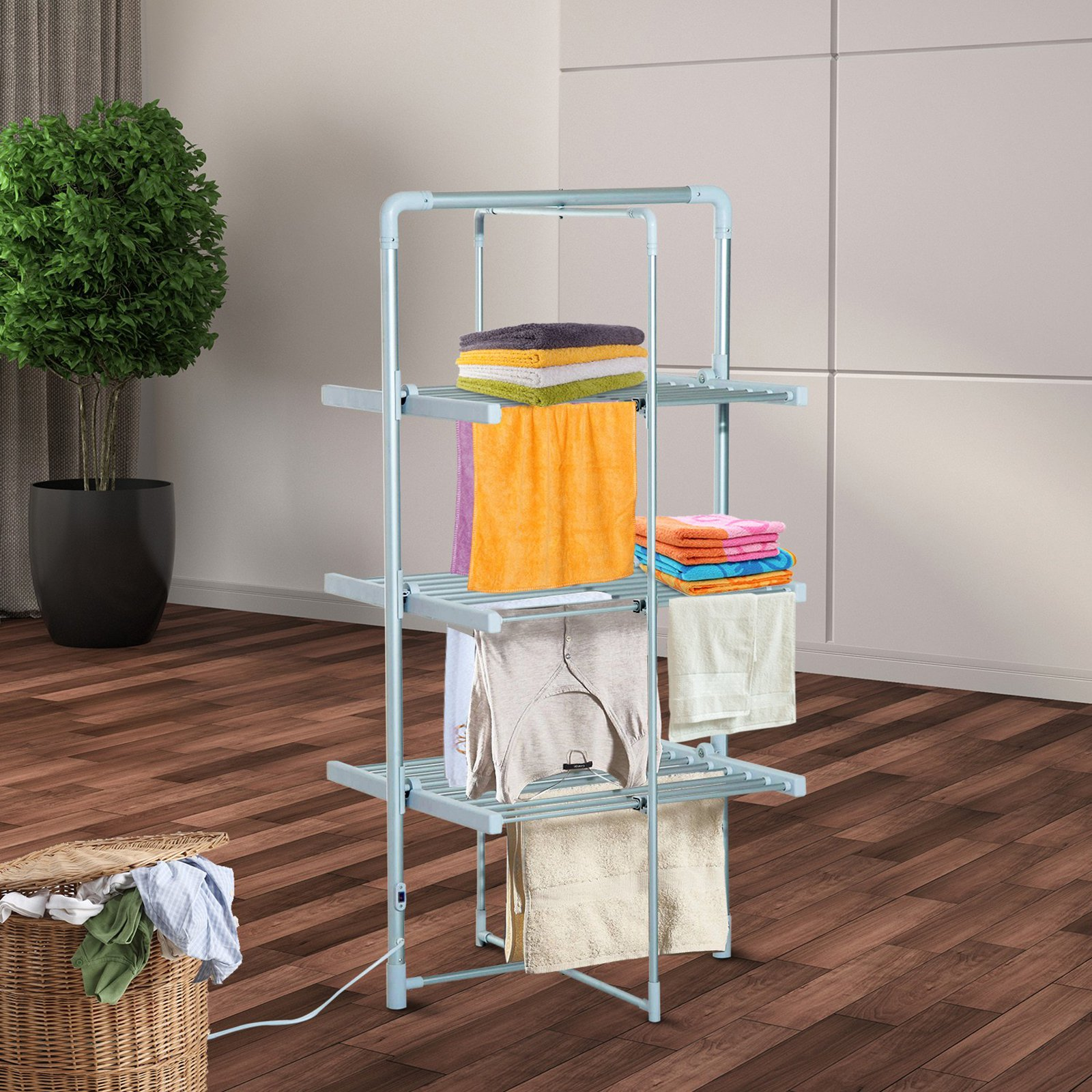 HomCom Foldable 3 Tier Electric Clothes Drying Rack
