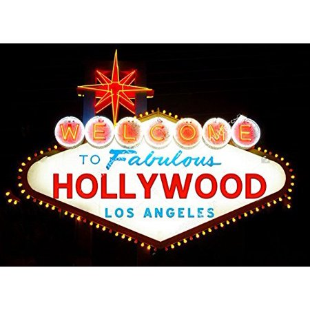 GreenDecor Polyester Fabric 7x5ft Los Angeles Hollywood Banner theme backdrop party wedding background (Hollywood Sign For Party)