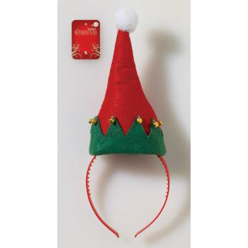 SANTA-ELF HAT ON HEADBAND 12 PACK - Green Santa Hats