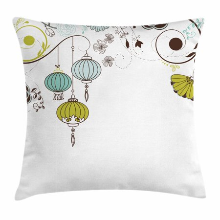 Lantern Throw Pillow Cushion Cover, Abstract Expression of Coming of New Year in China Vibrant Colors, Decorative Square Accent Pillow Case, 16 X 16 Inches, Apple Green Sky Blue White, by
