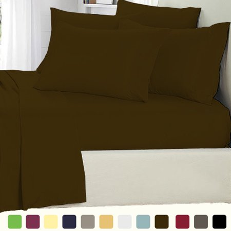 6 Piece Lux Decor Bed Sheets Set Ed Sheet With 4 Pillow Cases Stain Resistant Luxurious Comfortable Soft Extremely Durable Queen Brown