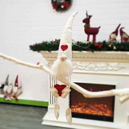 Swedish Christmas Ornament.Long Hat Sitting Swedish Christmas Santa Gnome Plush Doll Holiday Figurines Toy Xmas Home Indoor Table Ornament