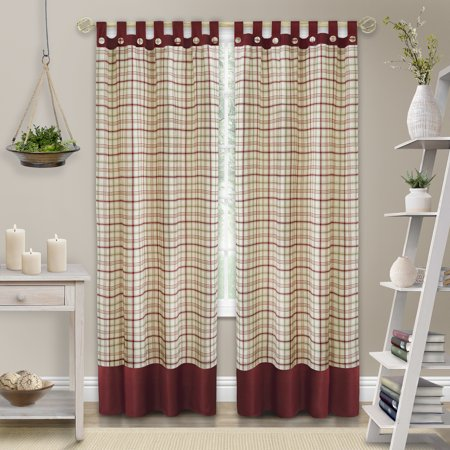 Achim Tattersall Button Tab Top Window Curtain Panel - 52x63 - Burgundy Tab Top Window Curtain
