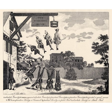 The Weighing House By William Hogarth Weighing The Degrees Of Dumbness And Foolishness Text Below Says  A Absolute Gravity B Conatus Against Absolute Gravity C Practical Gravity D Comparative Gravity