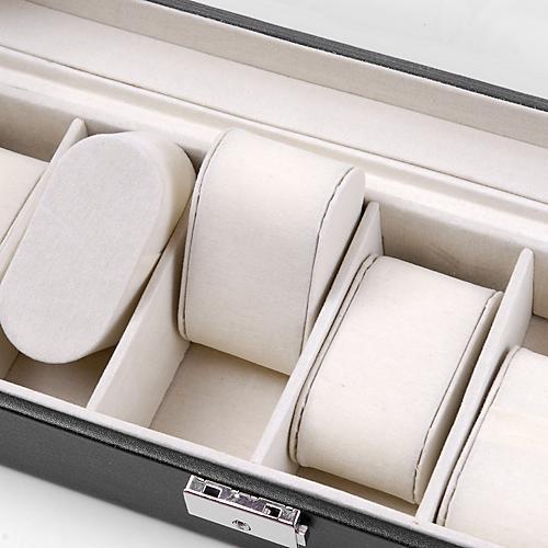 6 Watch Leather Box Plastic Top Display Lockable Jewelry Storage Organizer Case Caroj - image 4 of 5