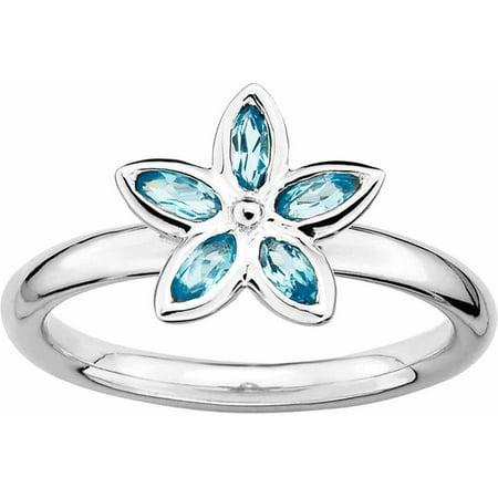 Sterling Silver Blue Topaz Flower Ring (Blue Topaz Flower)