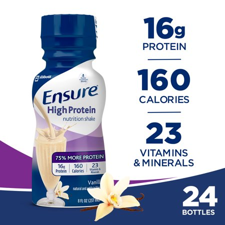 Ensure High Protein Nutritional Shake with 16g of High-Quality Protein, Ready-to-Drink Meal Replacement Shakes, Low Fat, Vanilla, 8 fl oz, 24 Count
