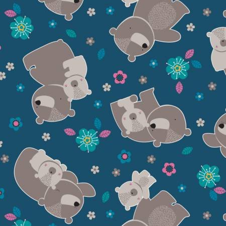 Emma & Mila Flannel Made from Bamboo Bears in Blue Fabric, per Yard