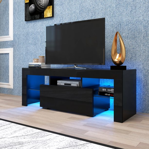 Black TV Stand for Up to 65 Inch TV, YOFE High Gloss TV Stand with LED Lights, Modern Entertainment Centers and TV Stands, Media Console Table for Lounge Room, Living Room, Bedroom, R2937
