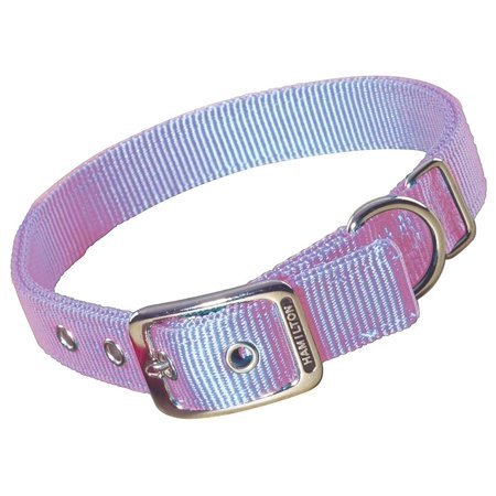 Hamilton Double Thick Nylon Deluxe Dog Collar Adjustable Durable Lavender 1 inch 22 inch