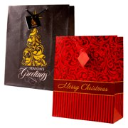 Christmas Holiday Gift Bags Medium Size Matte with Foil Hot Stamp Classic Christmas 12 Piece Assortment